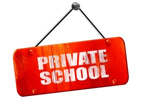 private school, 3D rendering, red grunge vintage sign